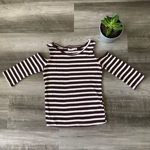 Pull&Bear Striped Cut-out shoulder top